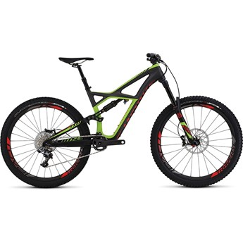 Specialized S-Works Enduro 650B Satin Charcoal Tint Carbon /Monster Green/Rocket Red
