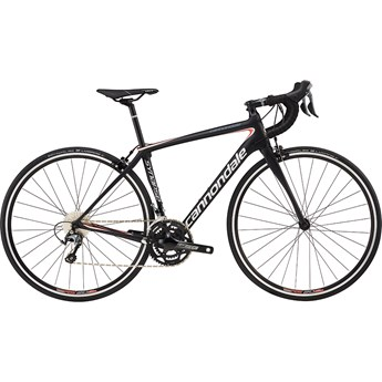 Cannondale Synapse Carbon Womens Tiagra Jet Black With Fine Silver and Coral, Matte