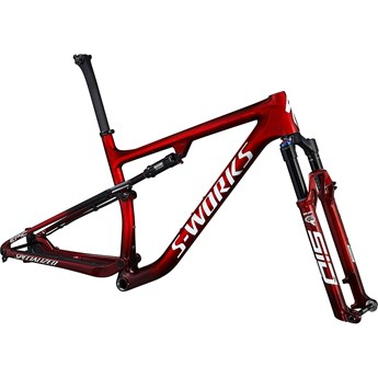 Specialized S-Works Epic Frameset Gloss Red Tint Fade Over Brushed Silver/Tarmac Black/White with Gold Pearl