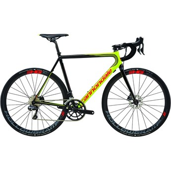Cannondale SuperSix EVO Hi-Mod Disc Ultegra Di2 Volt with Jet Black and Acid Red, Gloss