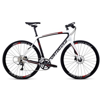 Specialized Sirrus Pro Carbon Disc Vit/Materialfärg/Röd