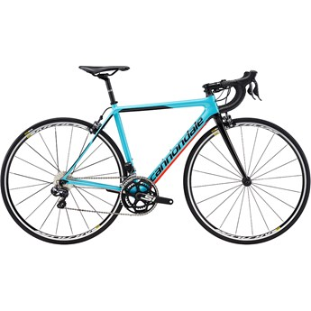 Cannondale SuperSix EVO Carbon Womens Ultegra Di2 Surf Blue with Jet Black and Acid Red, Gloss