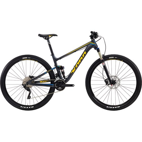 Kona Hei Hei Race Matt Charcoal with Blue and Yellow Decals 2016